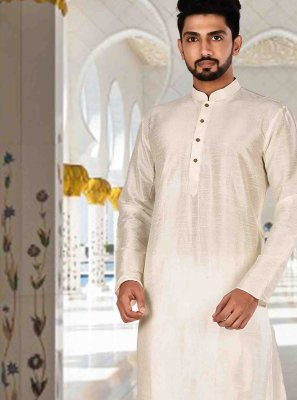 Cream Art Dupion Silk Plain Kurta Pyjama