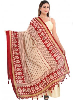 Cream Art Silk Ceremonial Designer Dupatta