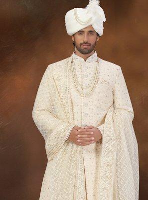 Cream Art Silk Sherwani