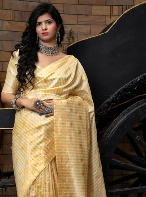 Cream Banarasi Silk Traditional Designer Saree