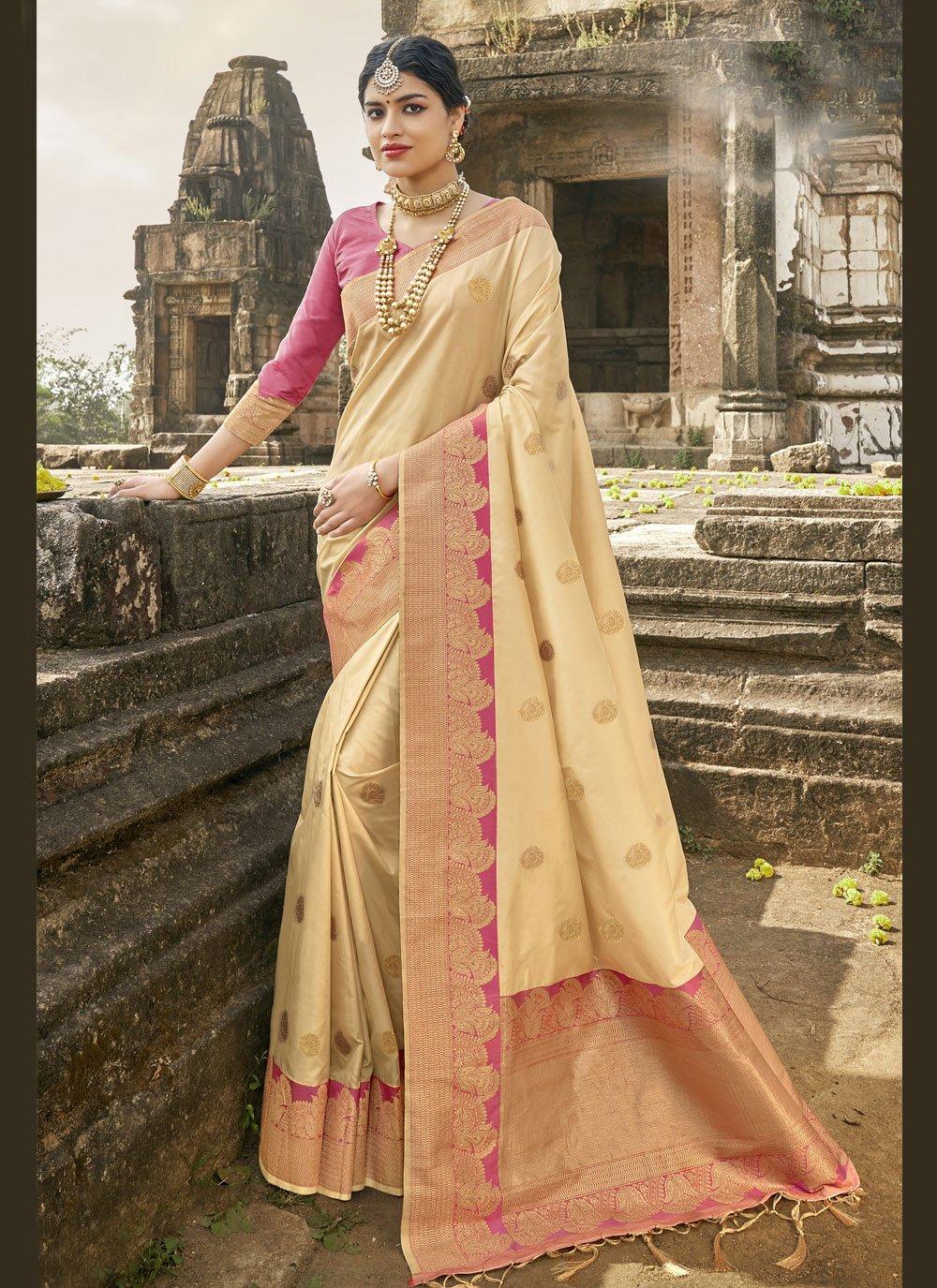 Cream Banarasi Silk Traditional Designer Saree