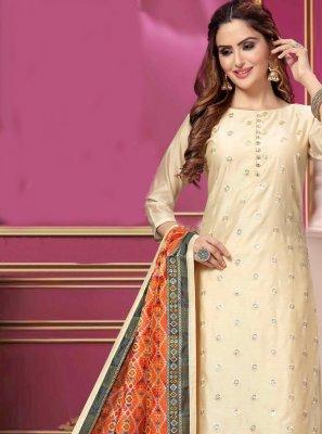 Cream Ceremonial Designer Salwar Kameez