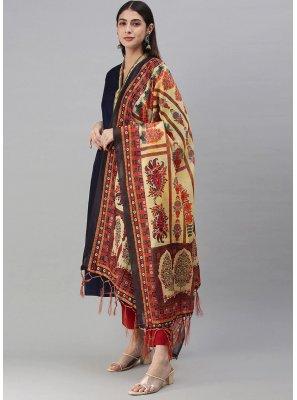 Cream Chanderi Ceremonial Designer Dupatta