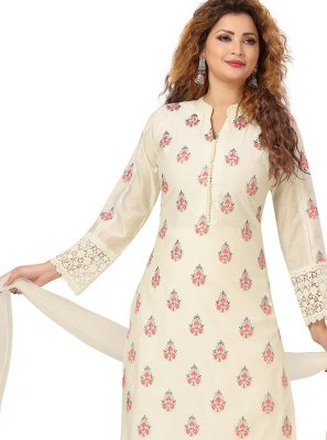 Cream Chanderi Ceremonial Trendy Salwar Suit