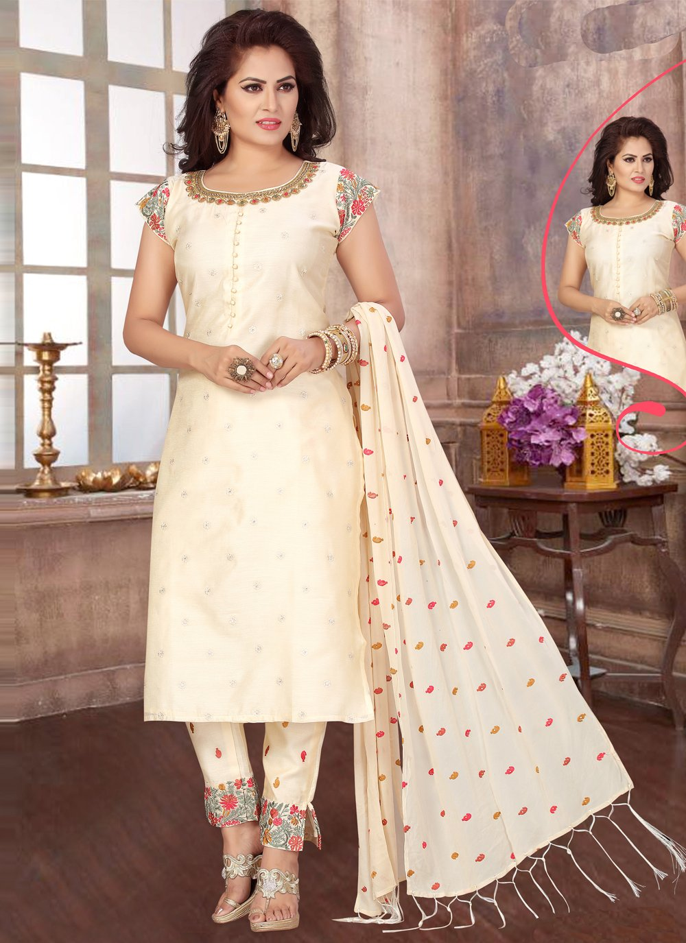 Cream Chanderi Embroidered Readymade Suit