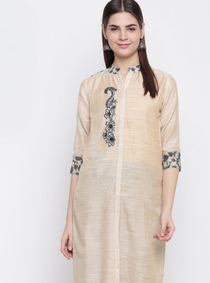 Cream Chanderi Print Party Wear Kurti