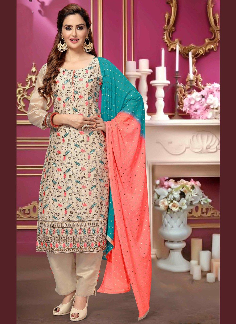 Cream Chanderi Trendy Salwar Kameez
