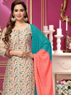 Cream Chanderi Trendy Salwar Kameez