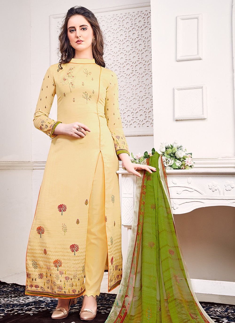 Cream Color Bollywood Salwar Kameez