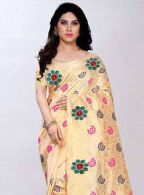 Cream Color Designer Saree