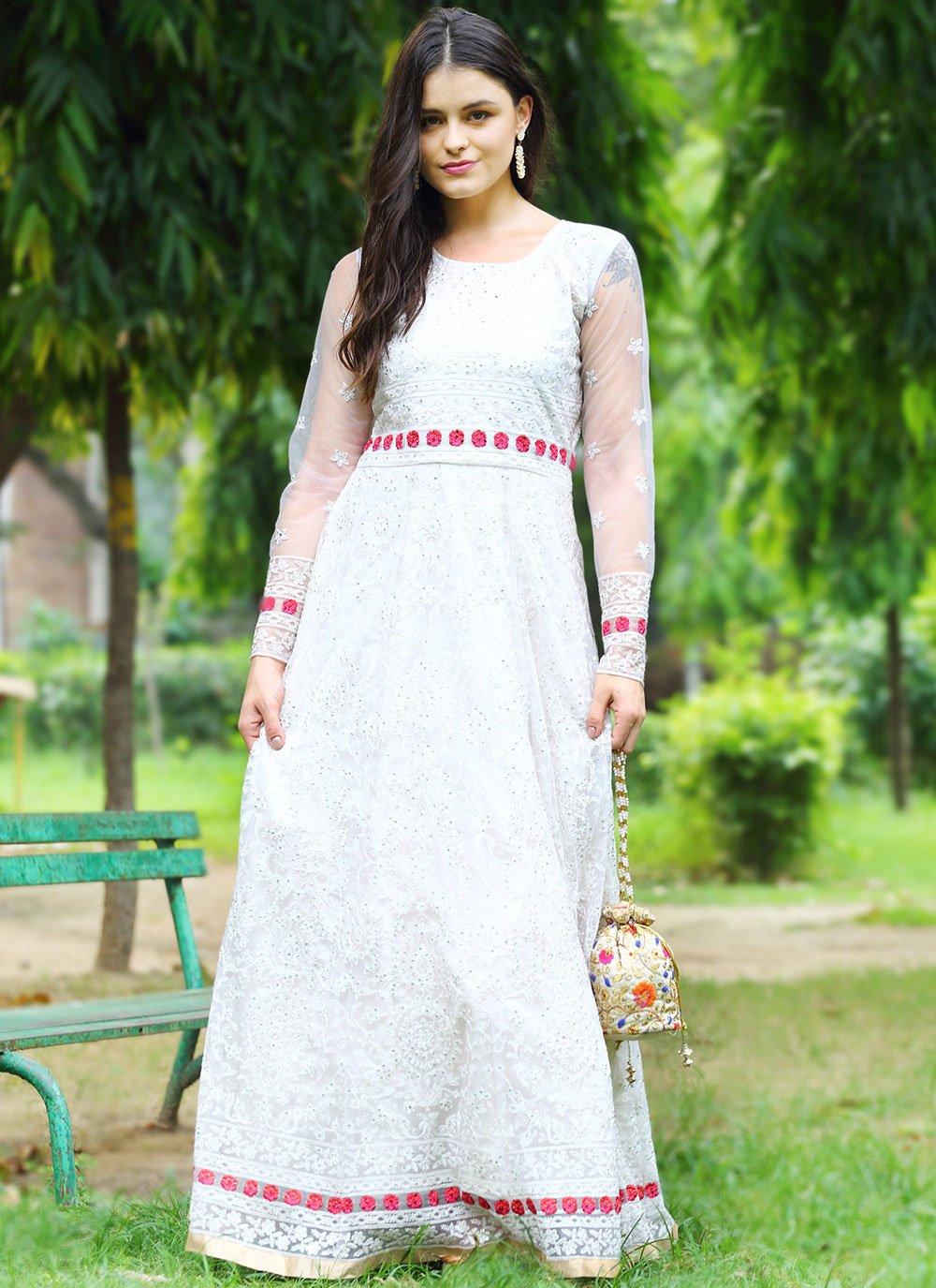 Cream Color Floor Length Anarkali Suit