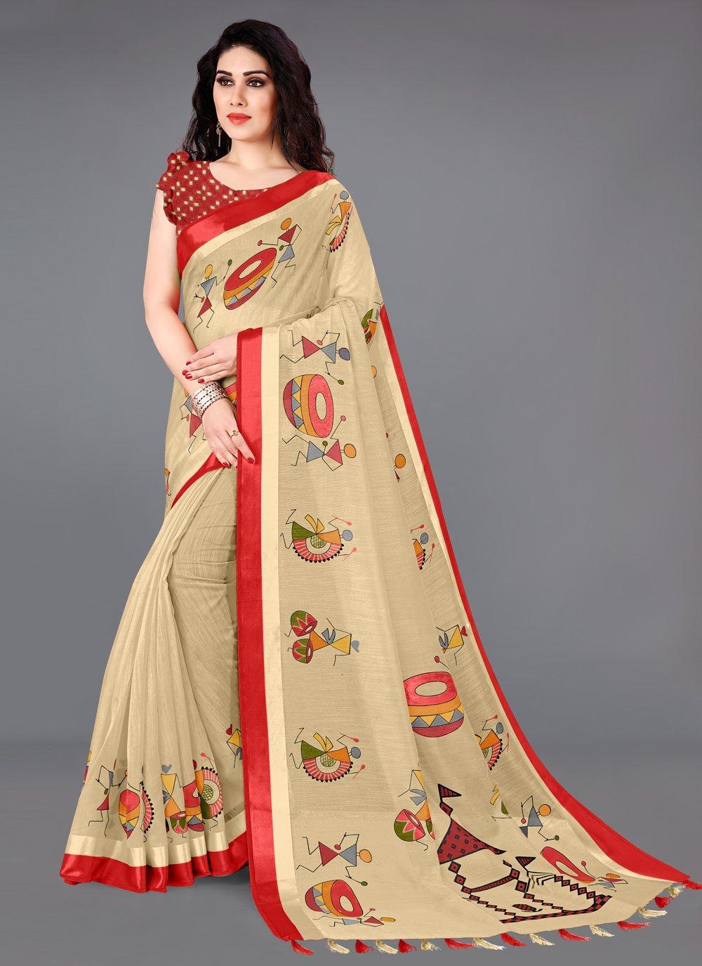 Cream Cotton Printed Saree