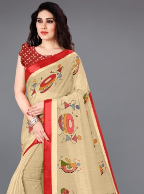 Cream Cotton Printed Saree