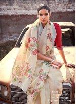 Cream Cotton Silk Silk Saree