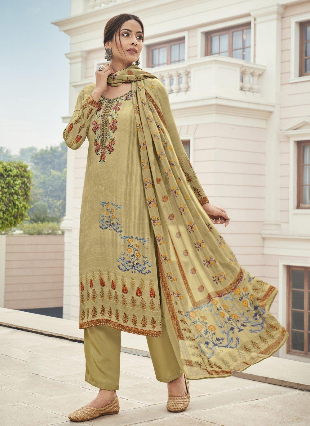 Cream Designer Palazzo Suit