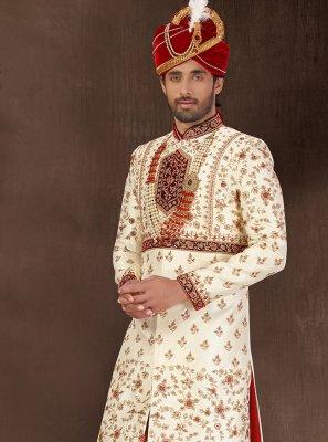 Cream Embroidered Art Silk Sherwani