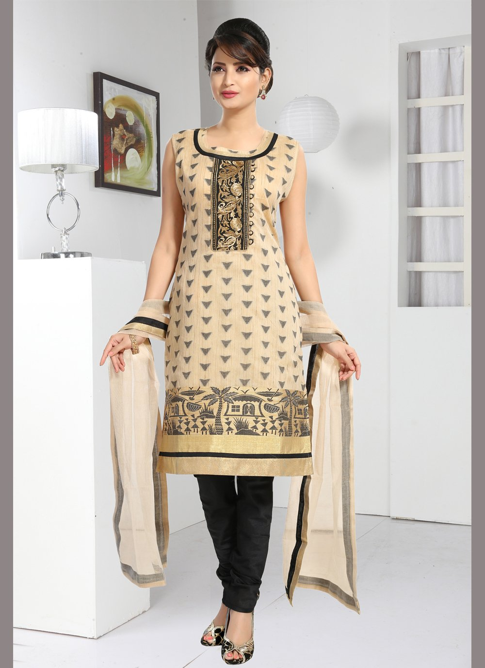 Cream Embroidered Brocade Readymade Suit