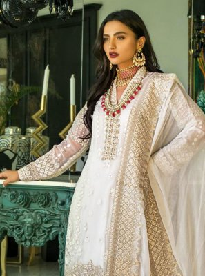 Cream Embroidered Designer Pakistani Salwar Suit