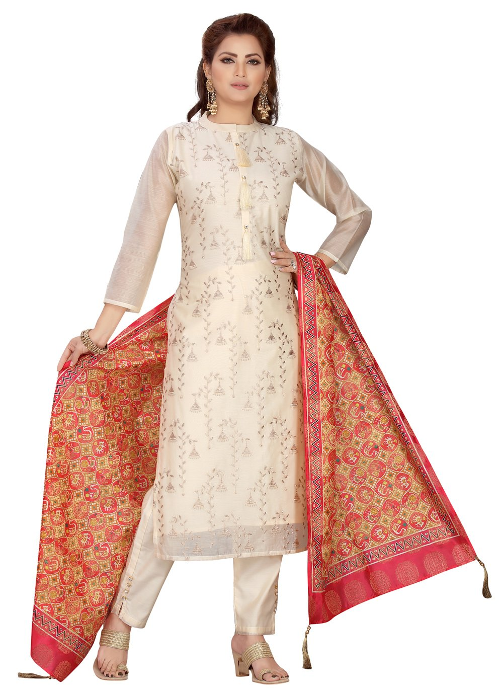 Cream Embroidered Festival Readymade Suit