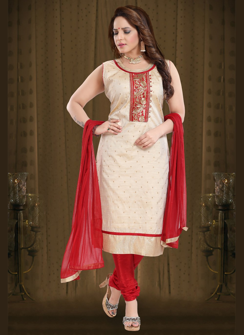 Cream Embroidered Silk Readymade Suit