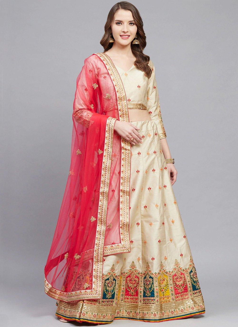 Cream Embroidered Wedding Bollywood Lehenga Choli