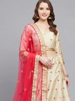 Cream Embroidered Wedding Bollywood Lehenga Choli