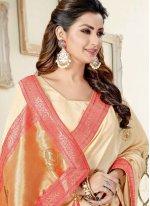Cream Engagement Art Silk Traditional Designer Saree