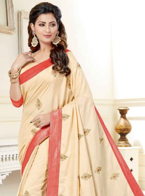 Cream Engagement Art Silk Traditional Designer Saree