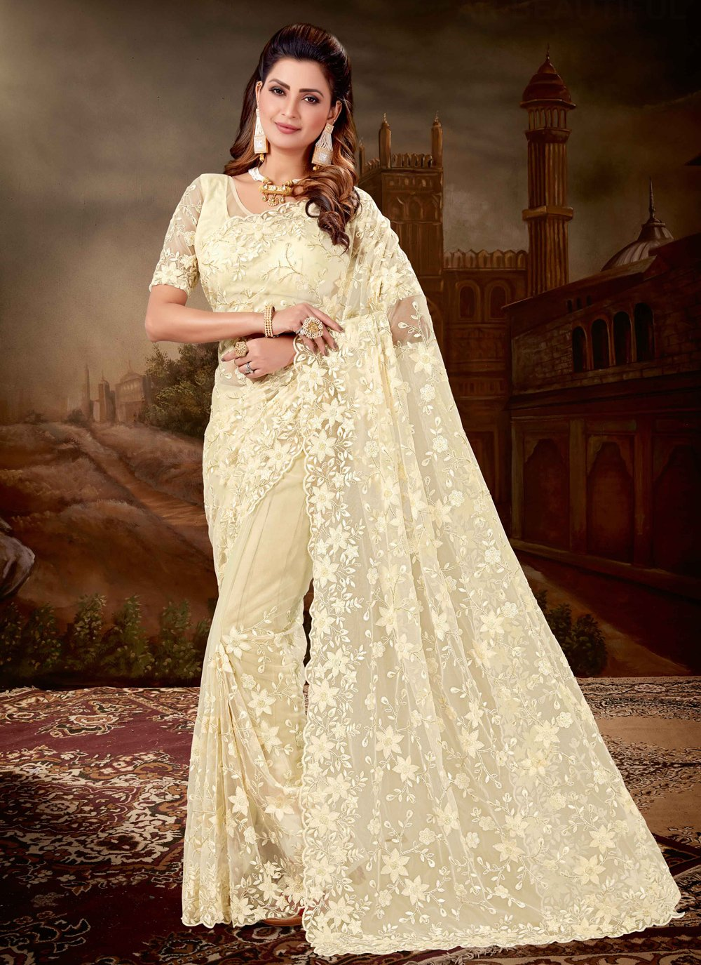 Cream Engagement Classic Designer Saree