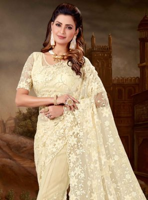 Cream Engagement Classic Designer Saree