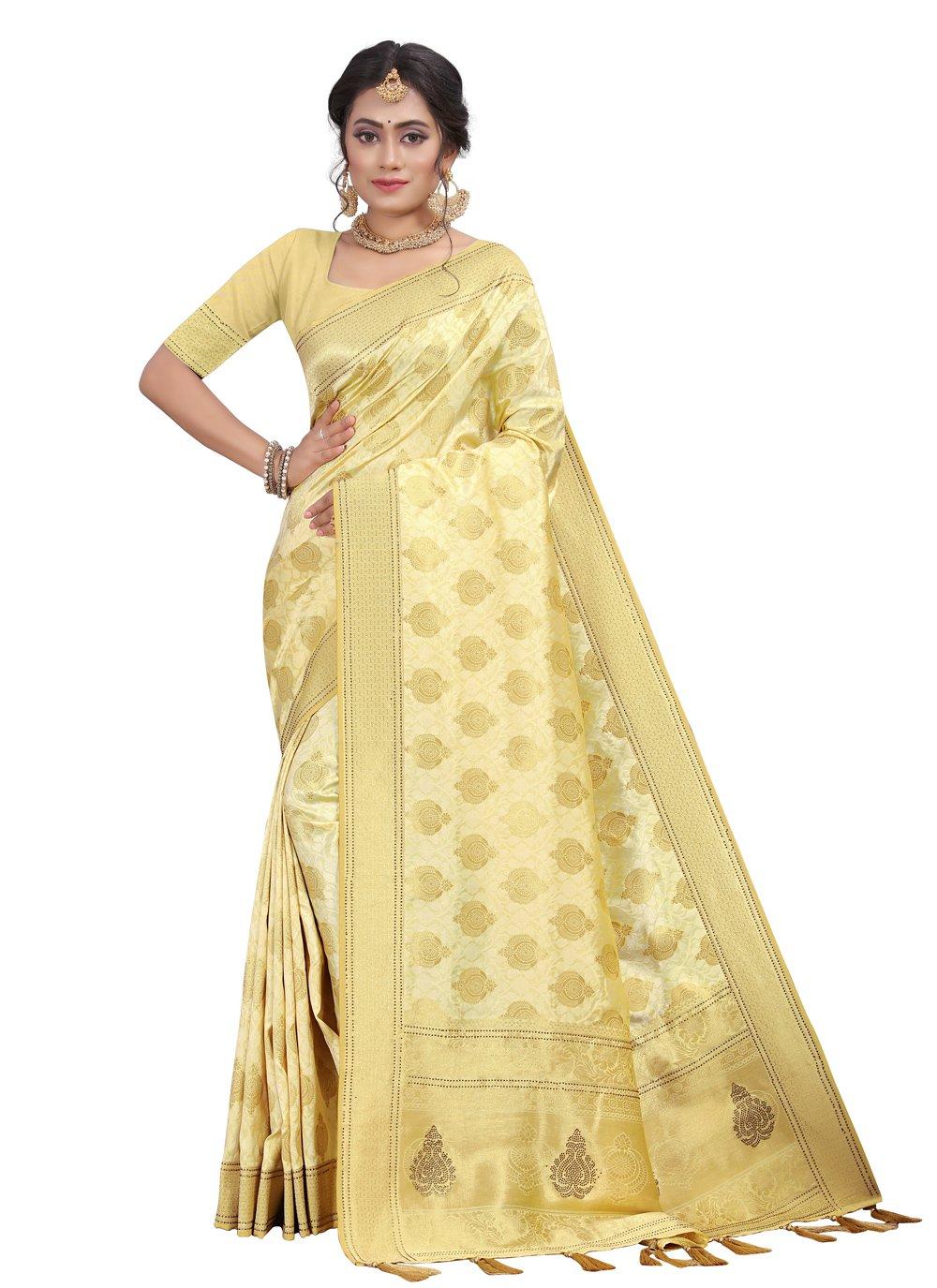 Cream Engagement Designer Traditional Saree