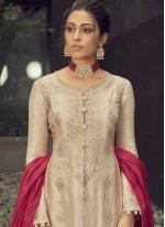 Cream Engagement Jacquard Silk Designer Palazzo Suit