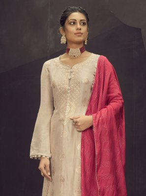 Cream Engagement Jacquard Silk Designer Palazzo Suit
