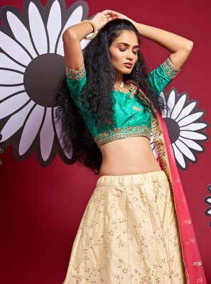 Cream Fancy Art Silk A Line Lehenga Choli