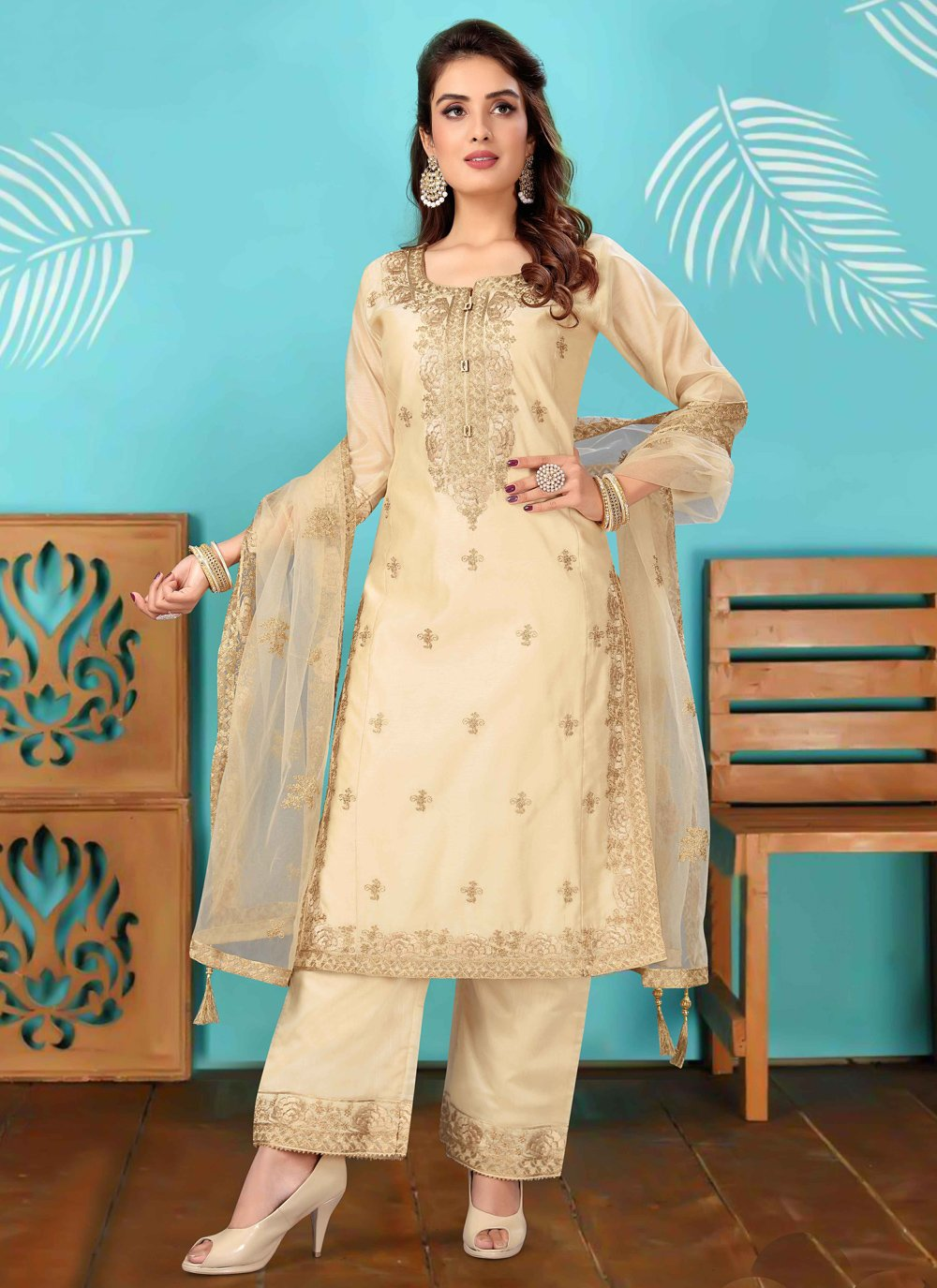 Cream Fancy Chanderi Readymade Suit