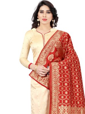 Cream Fancy Churidar Suit
