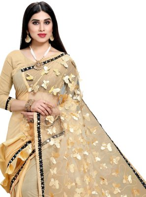 Cream Fancy Designer Half N Half Saree