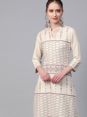 Cream Fancy Fabric Designer Kurti