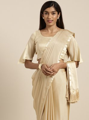 Cream Fancy Faux Georgette Classic Saree