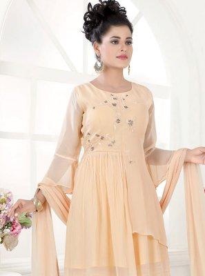 Cream Fancy Faux Georgette Designer Palazzo Salwar Suit