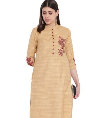 Cream Fancy Party Wear Kurti