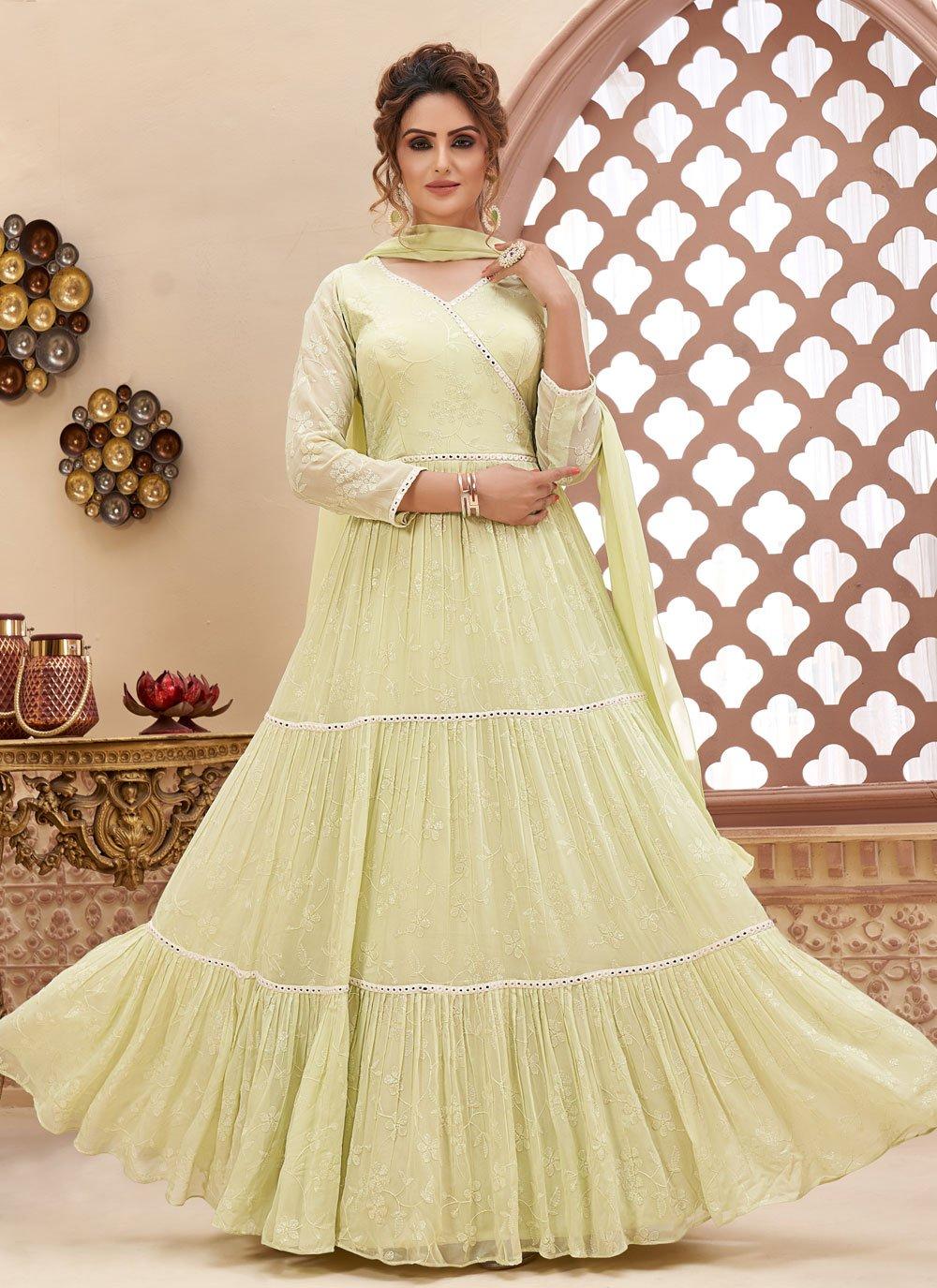 Cream Fancy Readymade Anarkali Suit