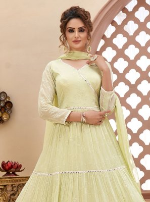 Cream Fancy Readymade Anarkali Suit