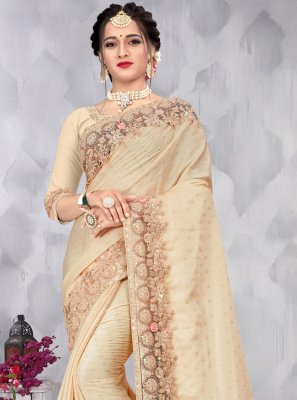 Cream Festival Designer Saree