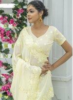 Cream Festival Silk Designer Traditional Saree
