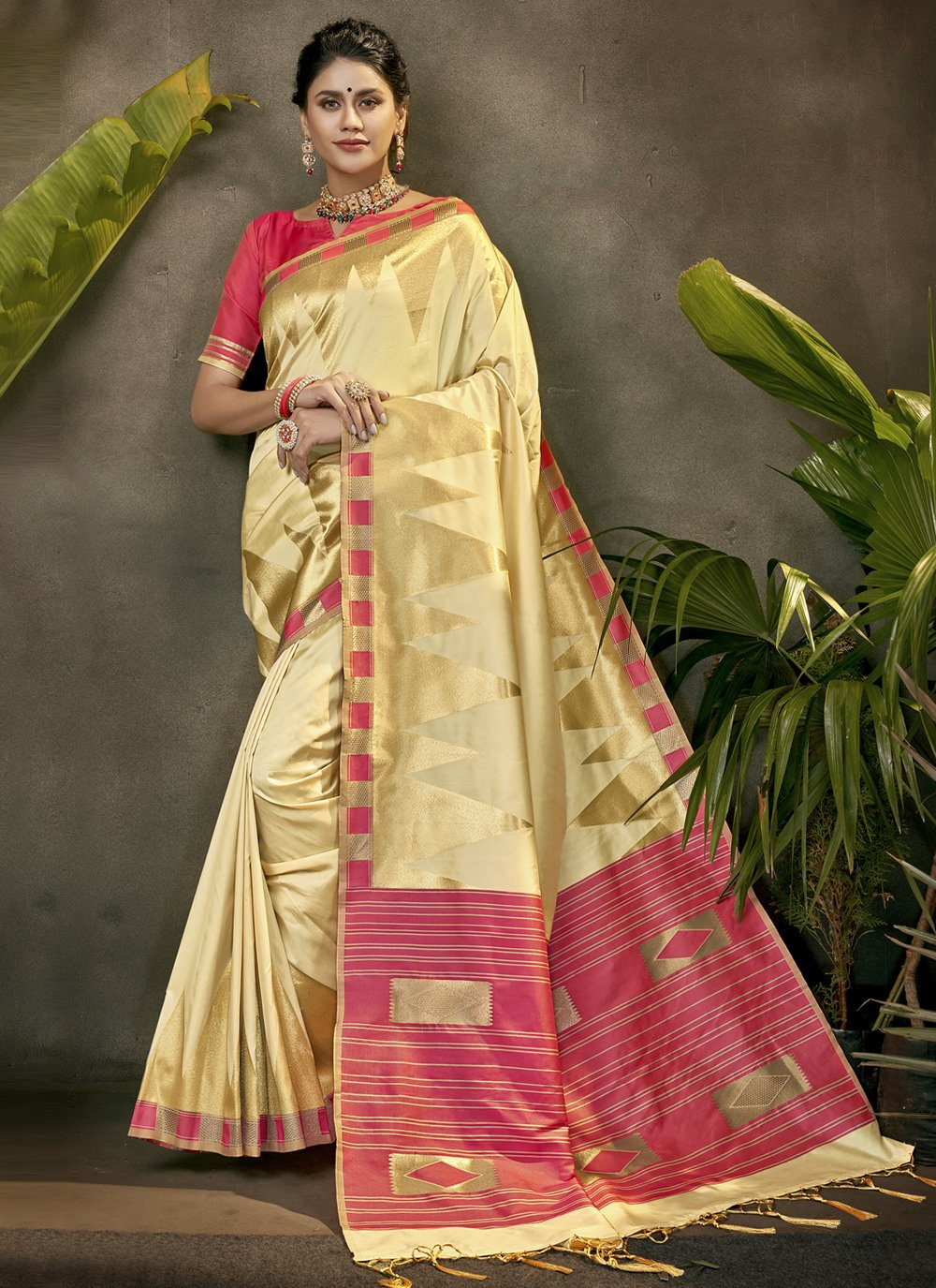 Cream Festival Traditional Designer Saree