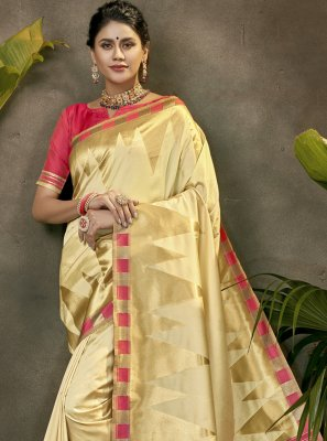 Cream Festival Traditional Designer Saree