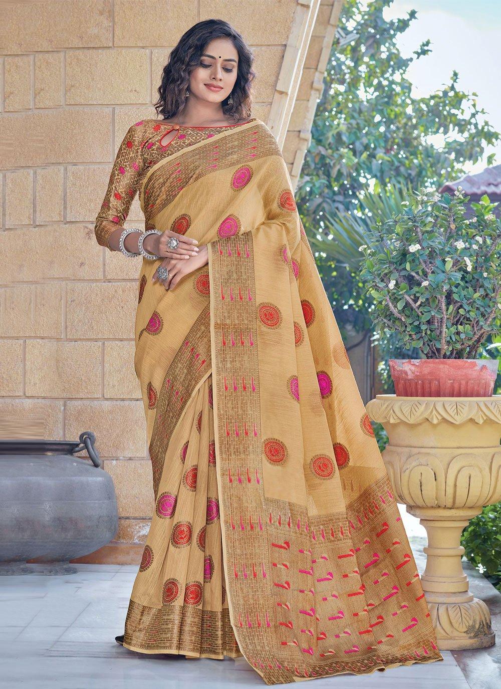 Cream Handloom Cotton Classic Designer Saree