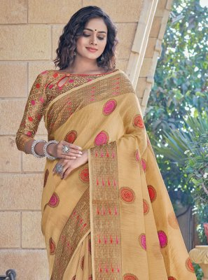 Cream Handloom Cotton Classic Designer Saree