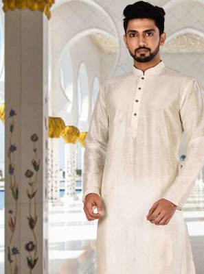 Cream Machine Embroidery  Kurta Pyjama